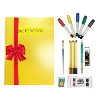 art kit with sketchbook, glass colors, pencils, clay kit