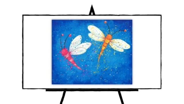 two colorful butterflies on blue background