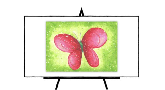 Pretty pink butterfly with green background
