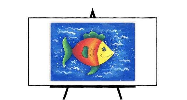 Colorful Fish swimming in blue ocean