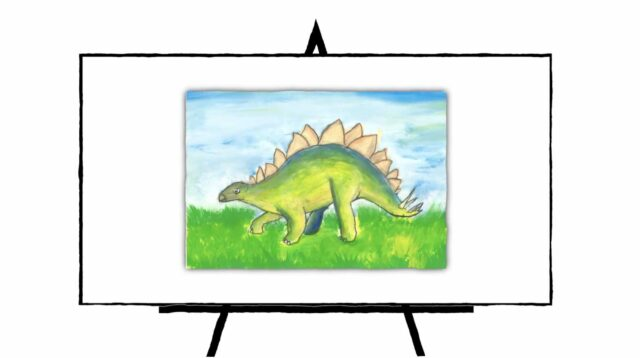 Green Stegosaurus on green grass with blue sky
