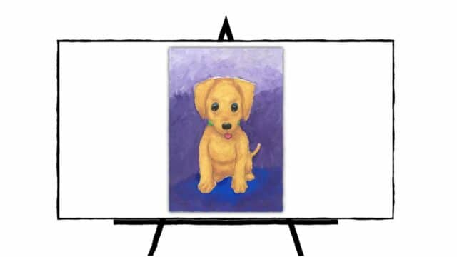 Cute Golden Puppy with purple background