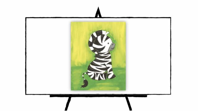 Baby Zebra with black stripes sitting down with green background
