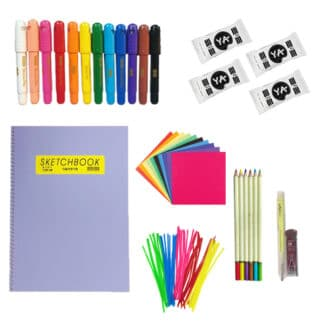image showing origami paper, pipe cleaners, colored pencils, sketchbook, pencil, and clay