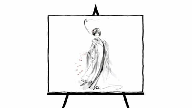 sketch of kimono dress with cherry blossom