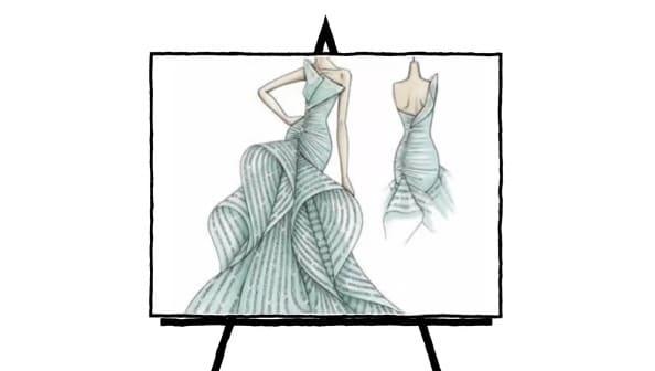 Sketch of a green mermaid fashion gown