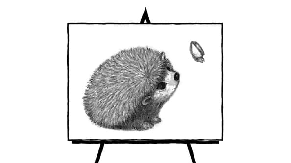 black and white pencil sketch of hedgehog