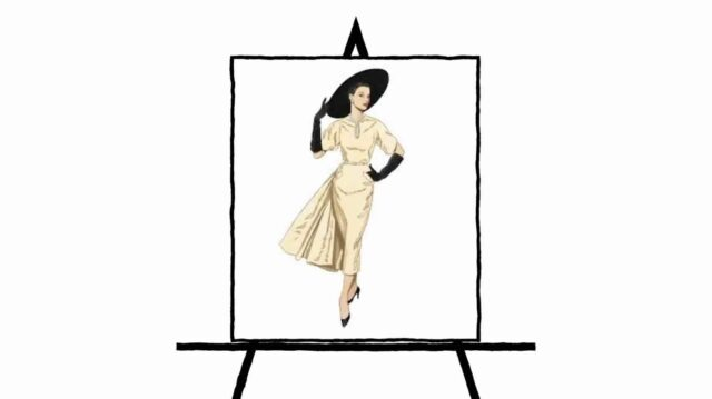 tan or yellow sketch of vintage dress on woman holding black hat