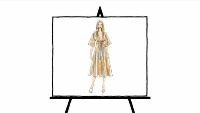 fashion sketch of orange and yellow striped summer dress
