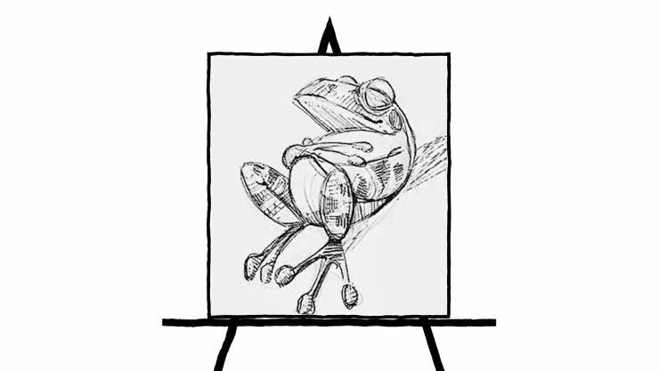 black and white pencil sketch of a frog