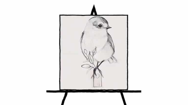 pencil sketch of bird