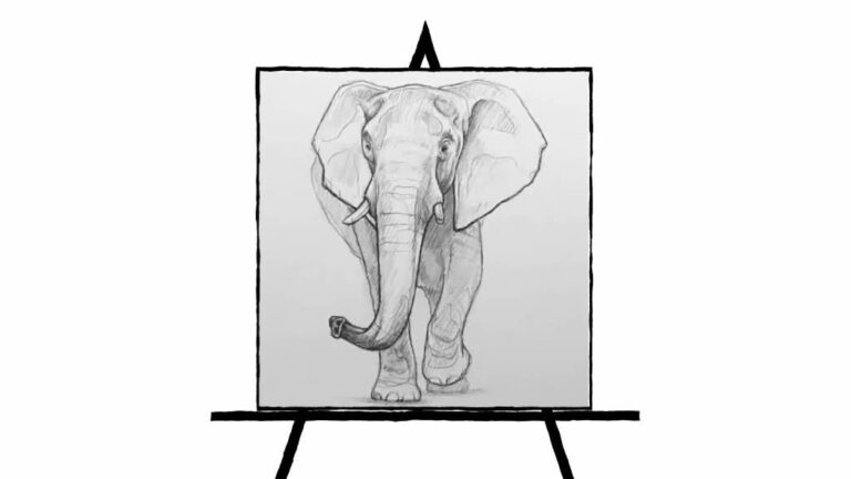 black and white pencil sketch of Elephant