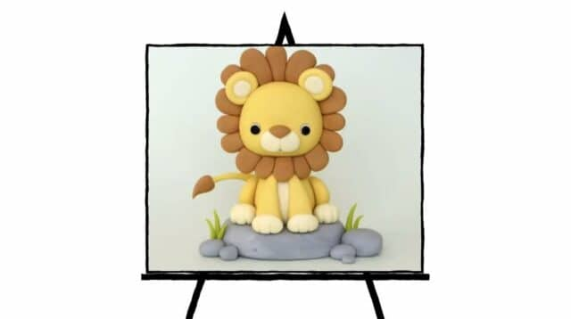 image of lion clay sculpture