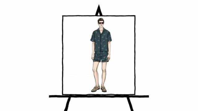 man button down shirt with shorts fashion sketching