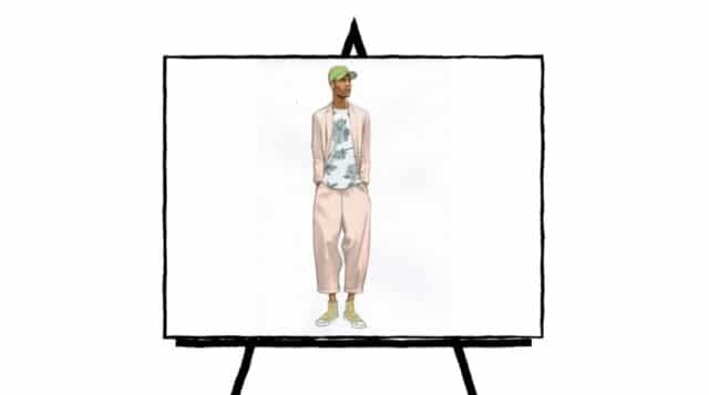 color fashion sketch of male model with green hat and light suit