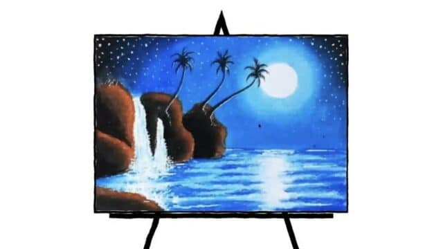 image of moonlit waterfall in pastel painting lots of blues and browns and black three palm tree shadow