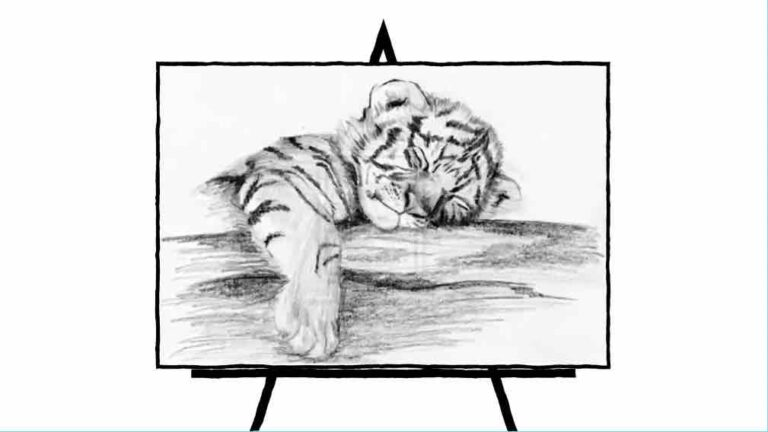 black and white sketch of tiger cub