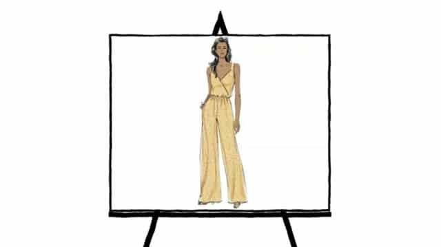 woman's yellow jumpsuit sketch fashion