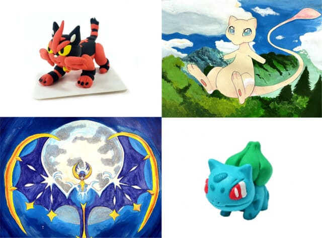 colorful collage of 4 images of creatures that stem from cats, phoenix, and water type creature.