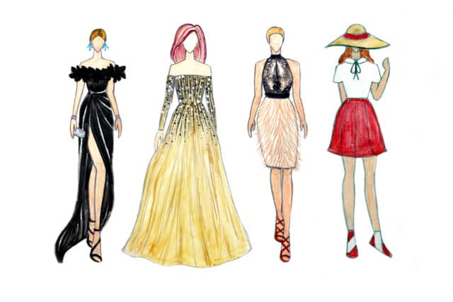 4 fashion designs of dresses in full color