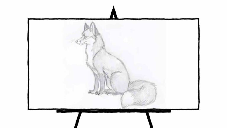 black and white pencil sketch of sitting fox