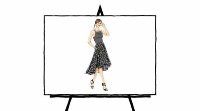 pencil color sketch of black polkadot dress