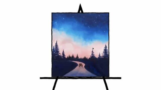 watercolor landscape of night drive