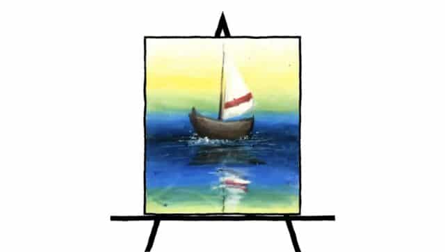 colorful pastel drawing of a sail boat