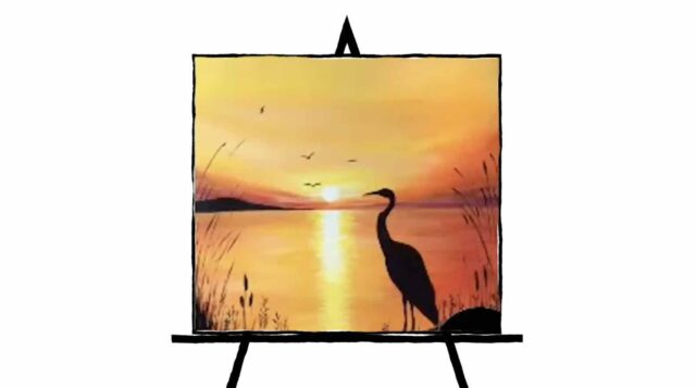 painting of crane silhouette in sunset colors