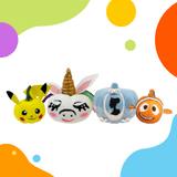 image of yellow character pumpkins, unicorn pumpkin, cinderella pumpkin, and orange fish pumpkin with colorful shapes on corners