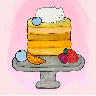 kitty on pastry platter drawing