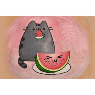 a kitty eating watermelon drawing
