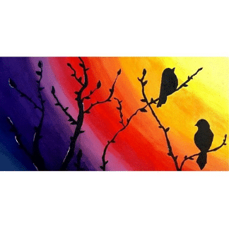 rainbow painting with 2 birds