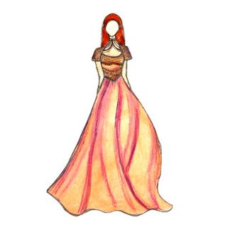peach dress fashion design