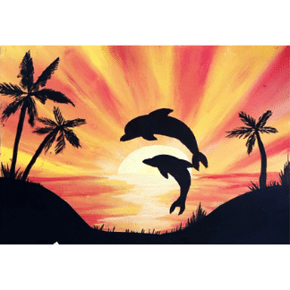 sunset scenery with jumping dolphins