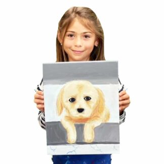 image of a student holding a painting of a golden retriever