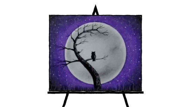 image of an owl on a branch curved against a full moon with a purple and black sky with stars