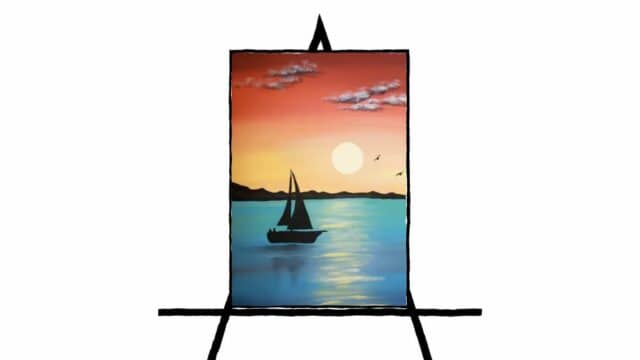 silhouette of sailboat with multicolor sunset landscape
