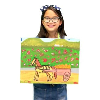 image of a student holding a painting of a horse pulling a wagon