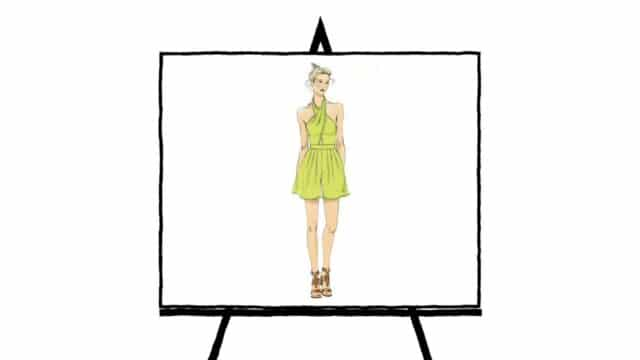 sketch character of woman wearing a lime green halter dress with brown sandals