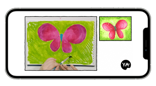 image of a pink butterfly with a green background being taught on YA live