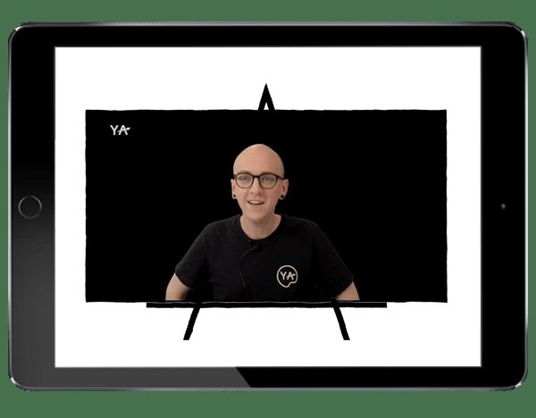 image of a teacher on YA live speaking