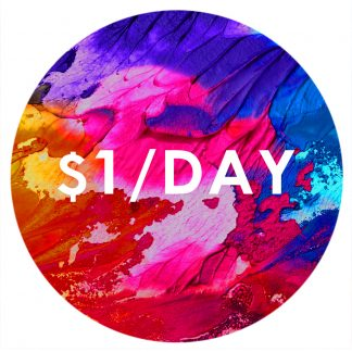 textured paint image with $1 a day sign